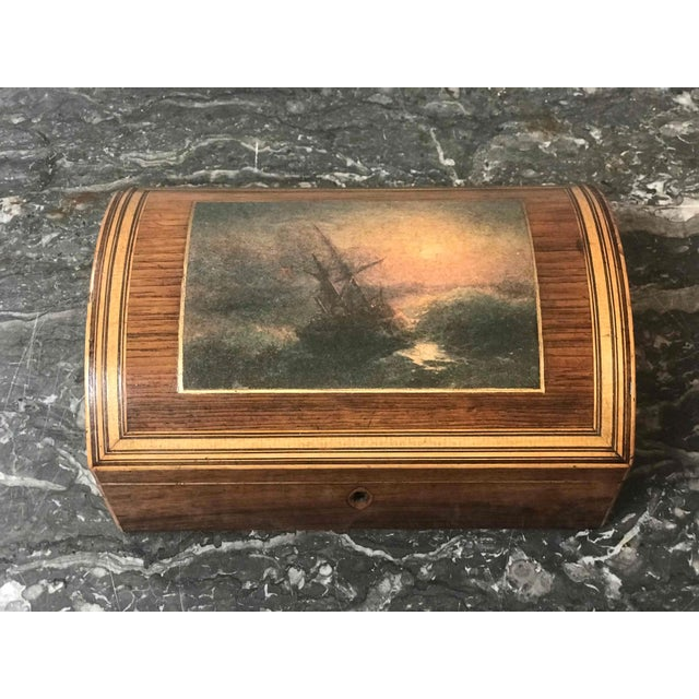 Wooden Dome Box With Seascape Scene From 1880s England For Sale - Image 4 of 7