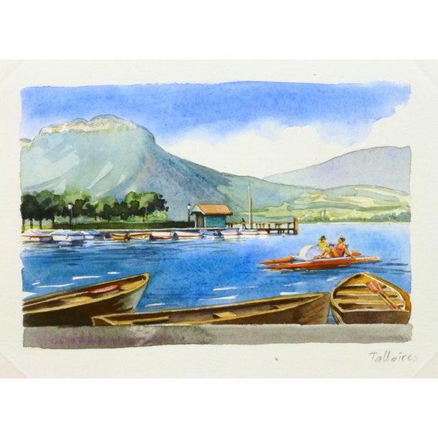 Original French Lake Watercolor - Image 1 of 3