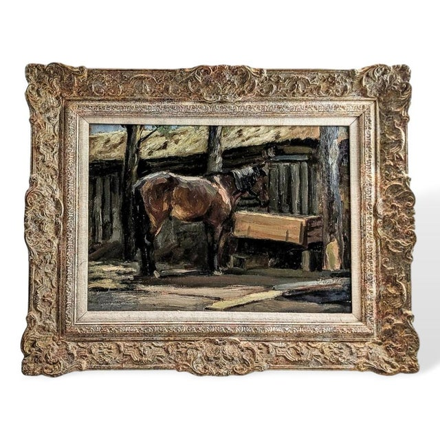"""1940s 1940s """"Horse Feeding"""" Oil Painting on Board After Sir Alfred Munnings, British For Sale - Image 5 of 5"""