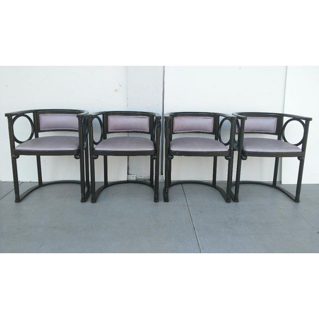 This is a great set of 4, vintage Joseph Hoffmann styled bentwood, wrap-around armchairs. They have very beautiful lines...