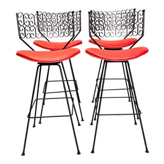 Wow Arthur Umanoff for Grenada Collection Iron Swivel Counter Bar Stools W/ Original Red Cushions For Sale