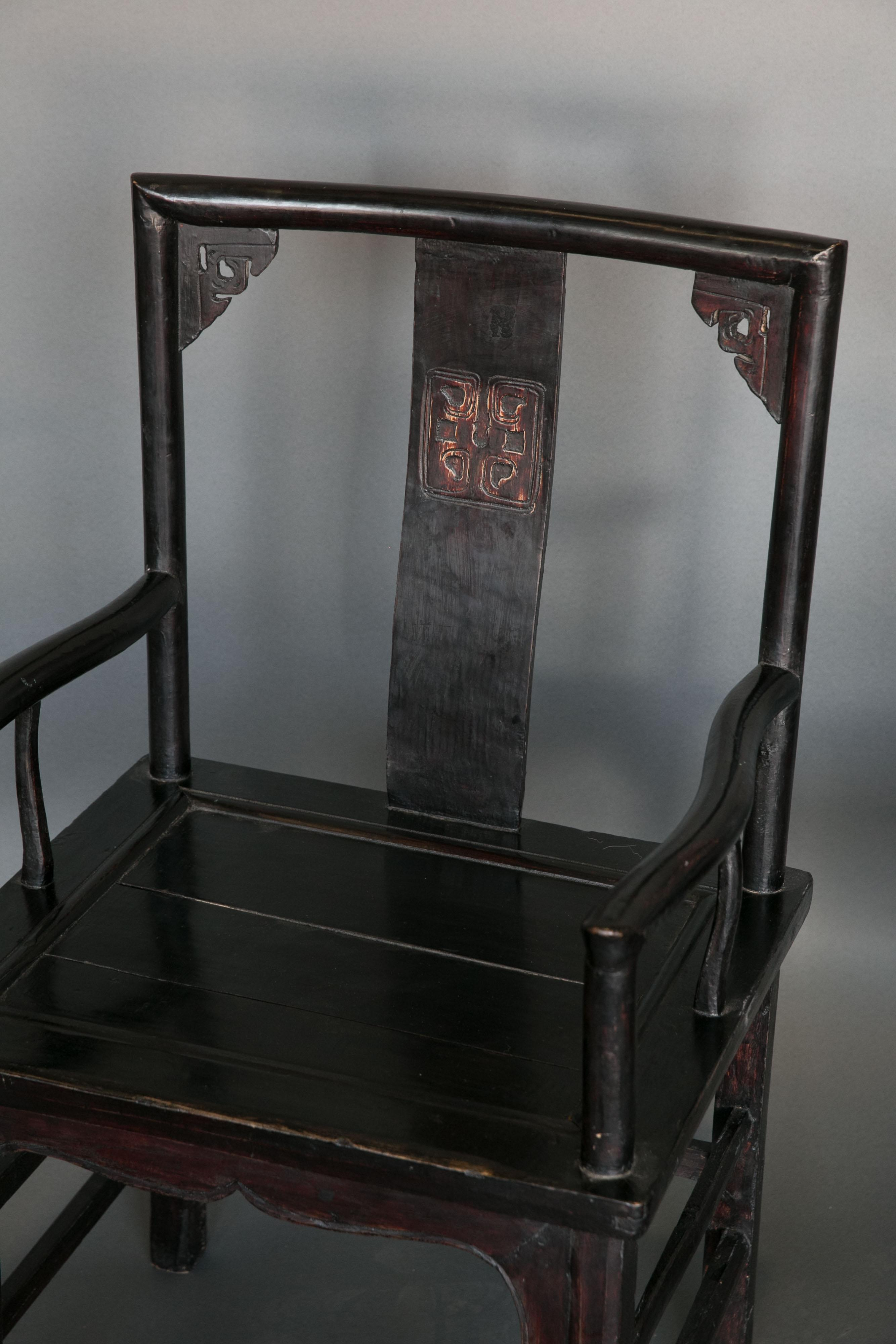 Pair Of Chinese Qing Dynasty Officials Chairs In Black Lacquer   Image 2 Of  6