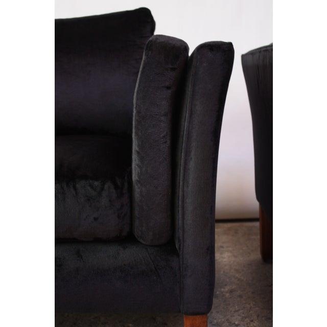 Pair of Danish Mogens Hansen Velvet Lounge Chairs - Image 8 of 10