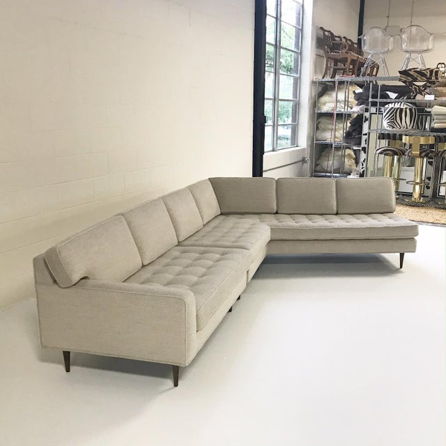 Vintage Mid-Century 2-Piece Sectional Sofa Restored in Gray Loro Piana Alpaca Wool For Sale - Image 4 of 12