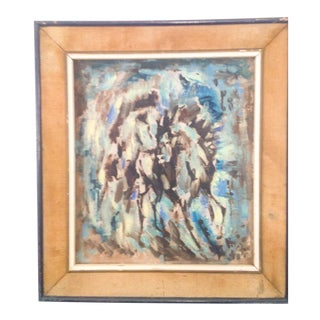 "Belgium Impressionistic ""Horses in Forrest"" Oil Painting For Sale"