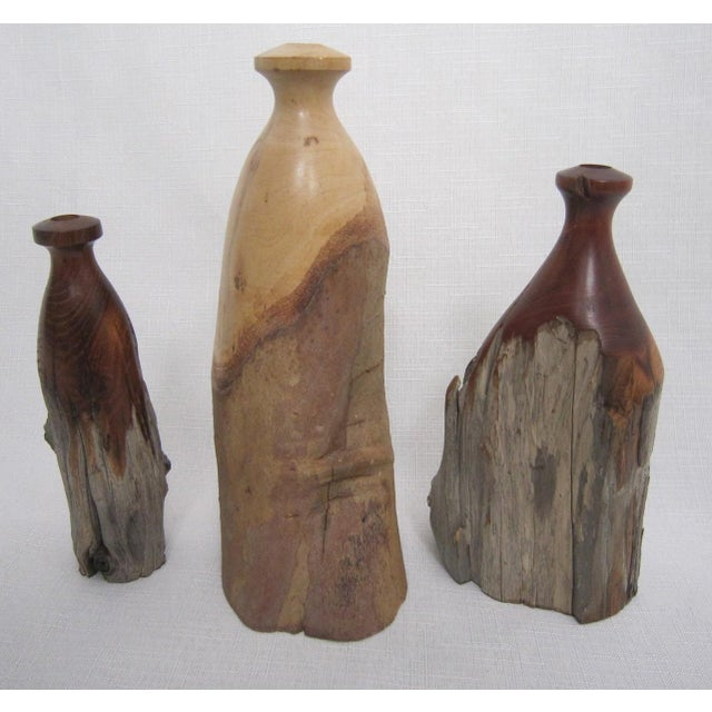 Vintage Burlwood Vases - Set of 3 - Image 3 of 4
