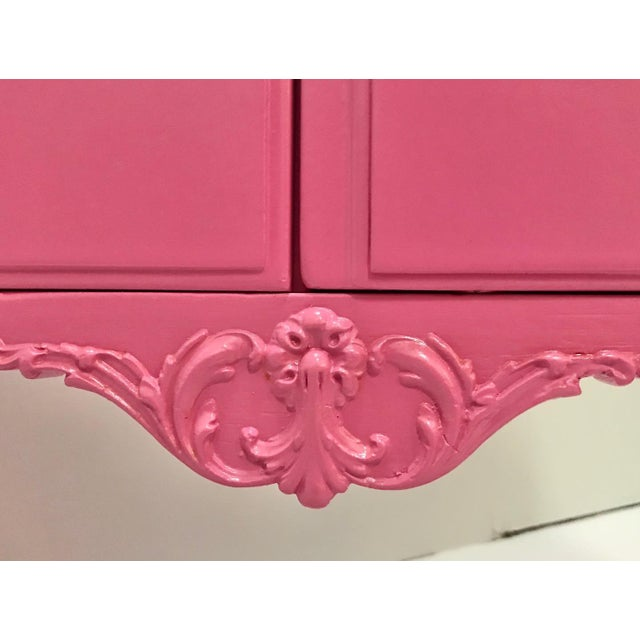 Hot Pink Vintage Pink Painted 1940s Chippendale Revival Claw and Ball Foot Cabriole Legs Server Console Mahogany For Sale - Image 8 of 11