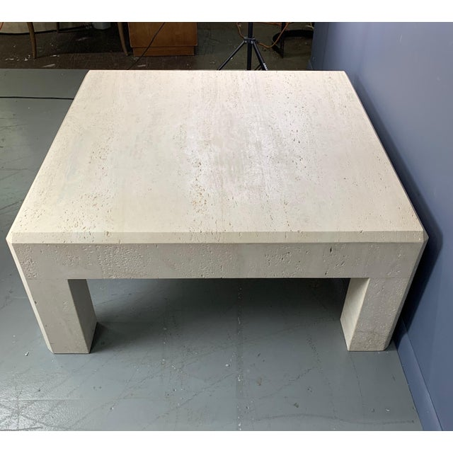 Stone 1980s Italian Travertine Square Coffee Table For Sale - Image 7 of 8