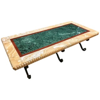 19th Century Specimen Marble Bench or Coffee Table Philadelphia History Museum For Sale