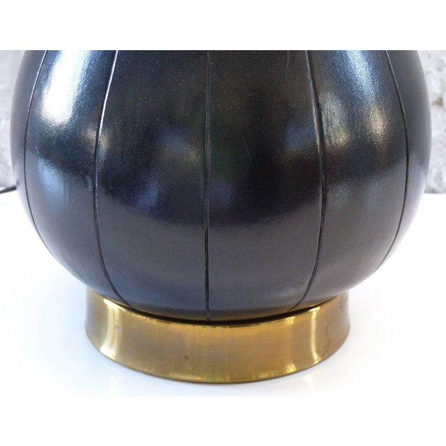 Gold Elegant and Unusual 1940s Leather and Brass Table Lamp For Sale - Image 8 of 10