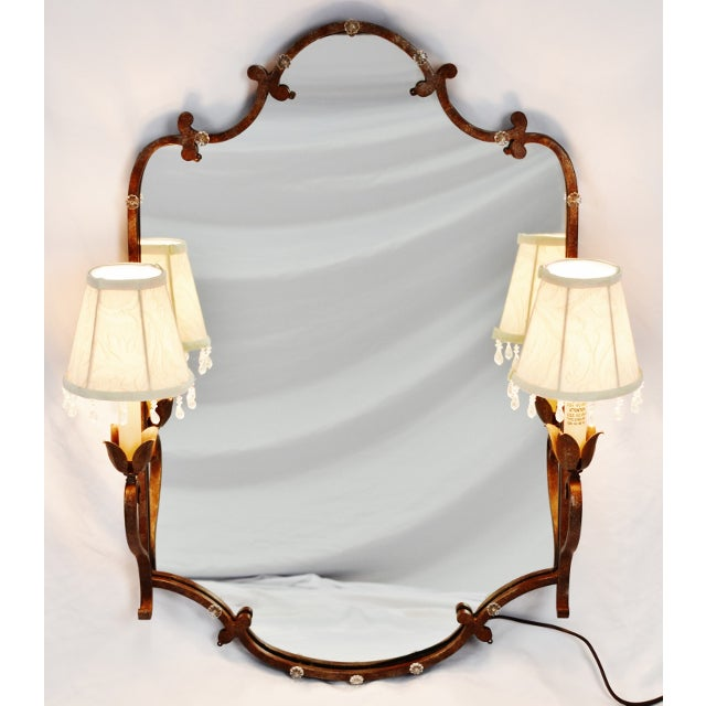 Vintage Tole Style Lighted Wall Mirror For Sale - Image 12 of 13