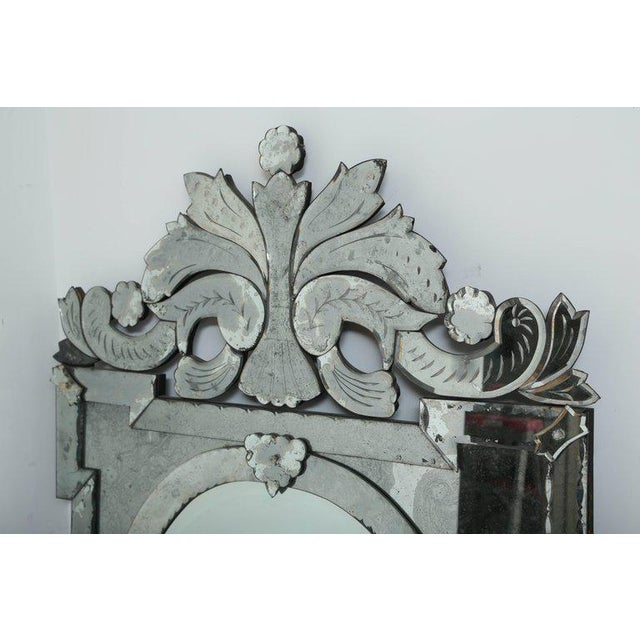 Art Deco Monumental Antique Venetian Mirror With Scrolled and Hand-Etched Designs For Sale - Image 3 of 9