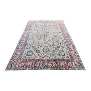 1950s Vintage Hand-Knotted Low Pile Wool Oushak Rug - 8′6″ × 11′5″ For Sale