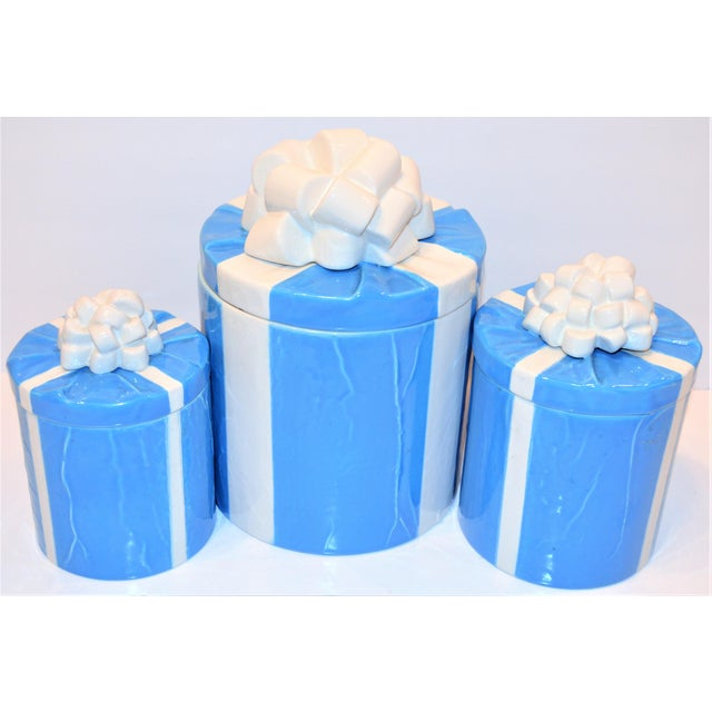 1970s Italian Trompe l'Oeil Mancioli Canister Set of 3 For Sale - Image 10 of 13