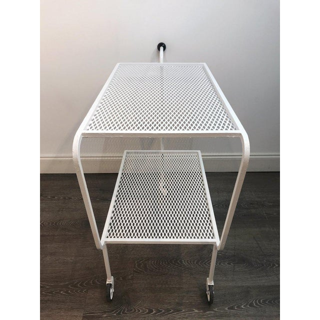 Metal Modern Wrought Iron Bar Cart in the Attributed to Salterini For Sale - Image 7 of 10