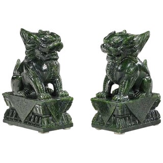 20th Century Chinese Carved Lion Sculptures - a Pair For Sale