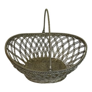 Vintage Silver Woven Fruit Basket For Sale