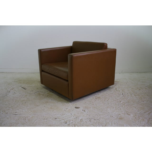 Knoll Pfister Brown Leather Club Chair - 4 Avail. - Image 2 of 6