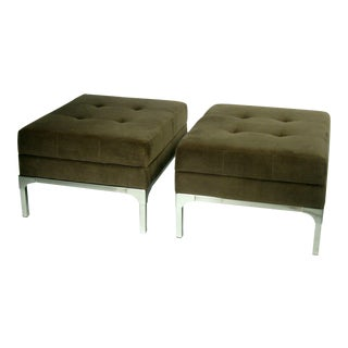 Modern Grey Green Velvet Upholstered Ottomans - a Pair