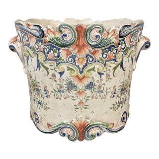 19th Century French Faience Round Jardiniere For Sale