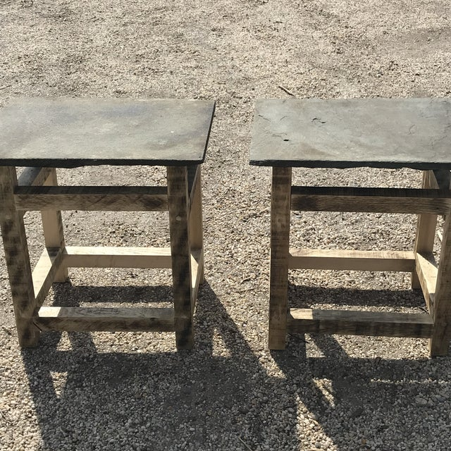 Rustic Handcrafted Oak & Shale Side Tables - a Pair For Sale - Image 4 of 9