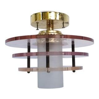 Gaetano Sciolari Attribute Lucite and Brass Ceiling Light