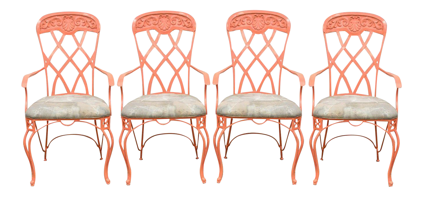 Wrought iron garden furniture antique Cast Aluminum Patio Set Vintage French Regency Style Wrought Iron Patio Sunroom Dining Arm Chairs Busnsolutions Vintage Used Wrought Iron Patio And Garden Furniture Chairish