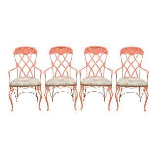 Vintage French Regency Style Wrought Iron Patio Sunroom Dining Armchairs Arm Chairs - Set of 4