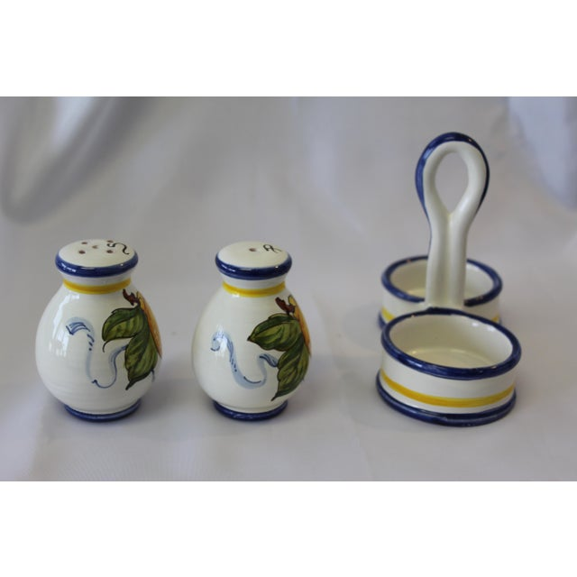 Italian Vintage Italian Deruta Lemon Ceramic Salt and Pepper Shakers For Sale - Image 3 of 8