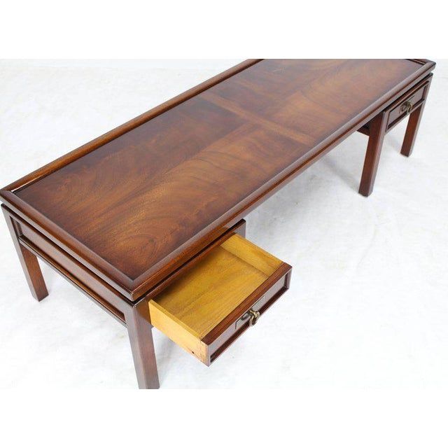 Lacquer Mahogany Double Pedestal Two Drawers Rectangular Coffee Table For Sale - Image 7 of 8
