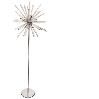 Pair of Stainless Steel and Glass Sputnik Floor Lamps For Sale