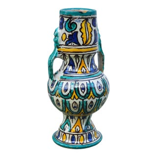 Moroccan Ceramic Vase W/ Handles For Sale