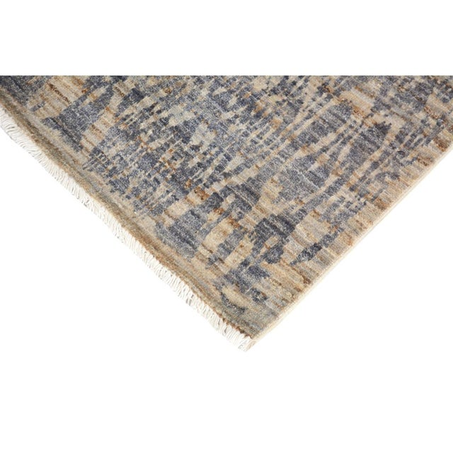 Contemporary Kafkaz Peshawar Crysta Gray & Blue Wool Rug - 4'1 X 6'3 For Sale - Image 3 of 8