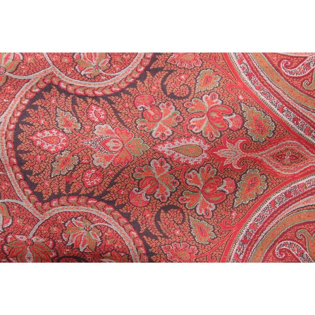 Red 20th Century Contemporary Red Paisley/Leopard Print Silk Down Pillow For Sale - Image 8 of 10