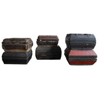 Early 20th Century Asian Covered Food Boxes Set of Six For Sale