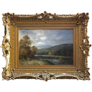 19th Century Antique Landscape Painting Oil on Canvas For Sale