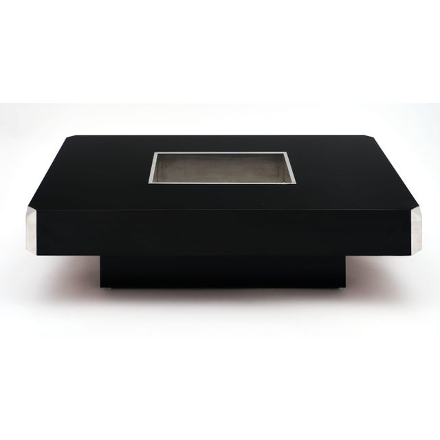1960s Italian Vintage Ebonized Coffee Table With Chrome by Willy Rizzo For Sale - Image 5 of 10