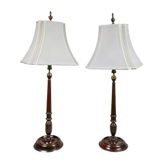 Pair of English Mahogany Candlestick Lamps For Sale