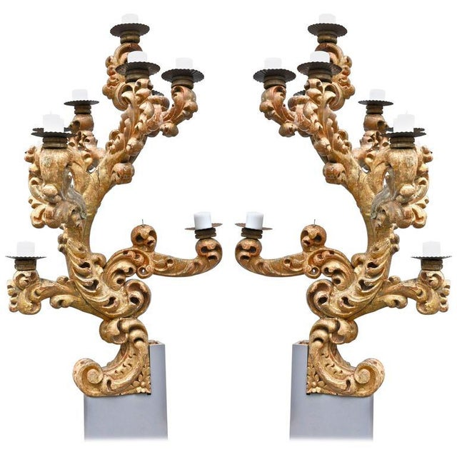Early 18th Century Roman Italian Giltwood Candelabras - A Pair For Sale In Boston - Image 6 of 6