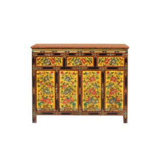 Chinese Tibetan Color Flower Graphic Tall Credenza Shoes Cabinet For Sale