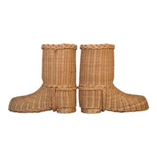 1970s Decorative Wicker Boots Shoes - a Pair For Sale