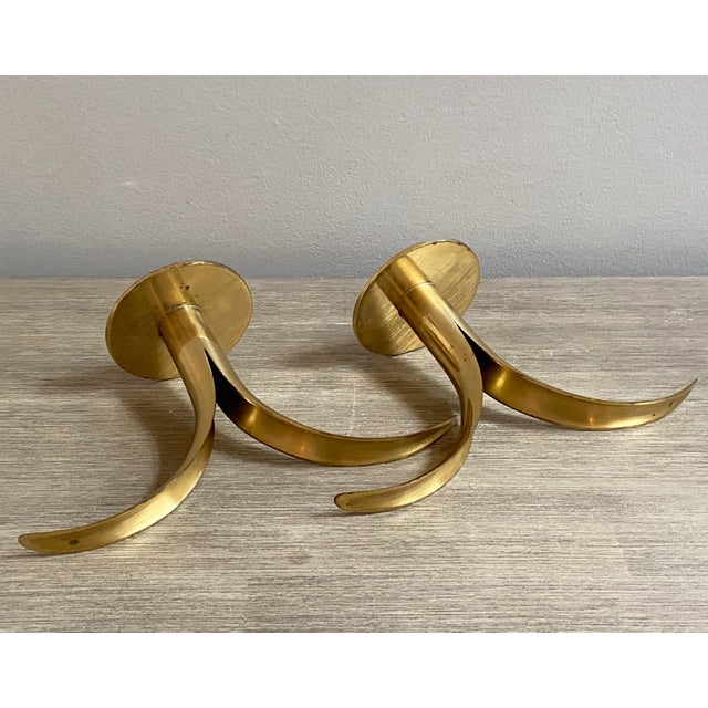 Swedish Mid-Century Brass Candlesticks by Ystad Metall - a Pair For Sale In Chicago - Image 6 of 13
