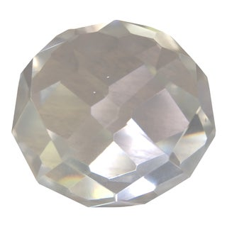 Mid Century Multi Faceted Geometric Cut Crystal Paperweight For Sale