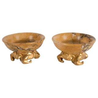 Pair of Art Deco Amber Gold Marble Dishes with Stylized Gilt Bronze Bases For Sale