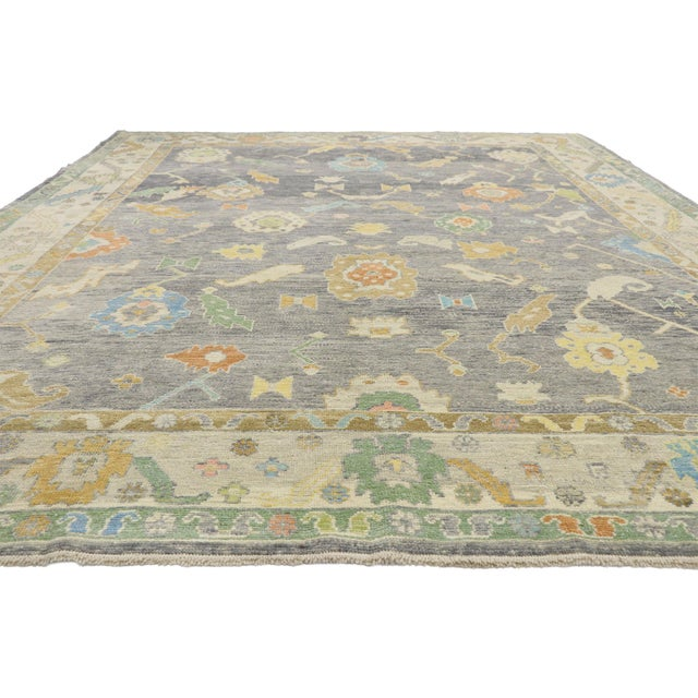 French Contemporary Turkish Oushak Rug - 09'09 X 13'07 For Sale - Image 3 of 10