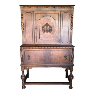 Antique Oak Carved Door China Cabinet For Sale