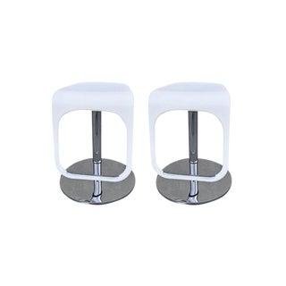 White & Chrome Adjustable Counter Stools - Set of 2 For Sale