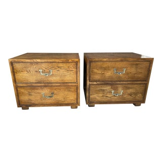 Henredon Artefacts Campaign Style Nightstands a Pair Mid Century Modern For Sale