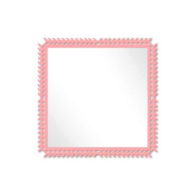 Fleur Home x Chairish Toulouse Trellis Mirror in Pink Punch, 24x24 For Sale - Image 4 of 4