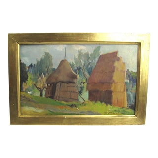 1950s Vintage Desiderio Tanfani Italian Landscape Oil on Board Painting For Sale